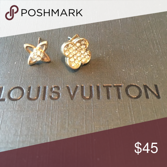 Cute Gold Pave Stud Diamond Earrings Tone Faux Super