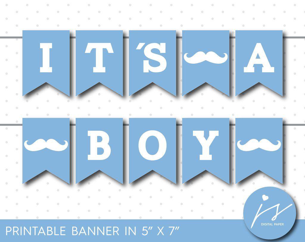Ice blue little man printable banner, It´s a boy mustache ...