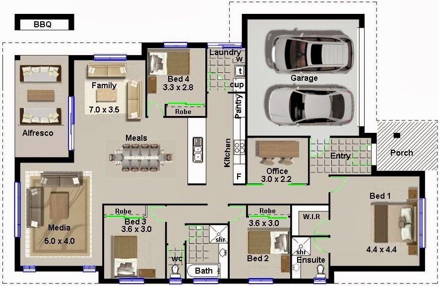 Casa de 220 metros cuadrados y 4 dormitorios planos de for Casas modernas de 80 metros