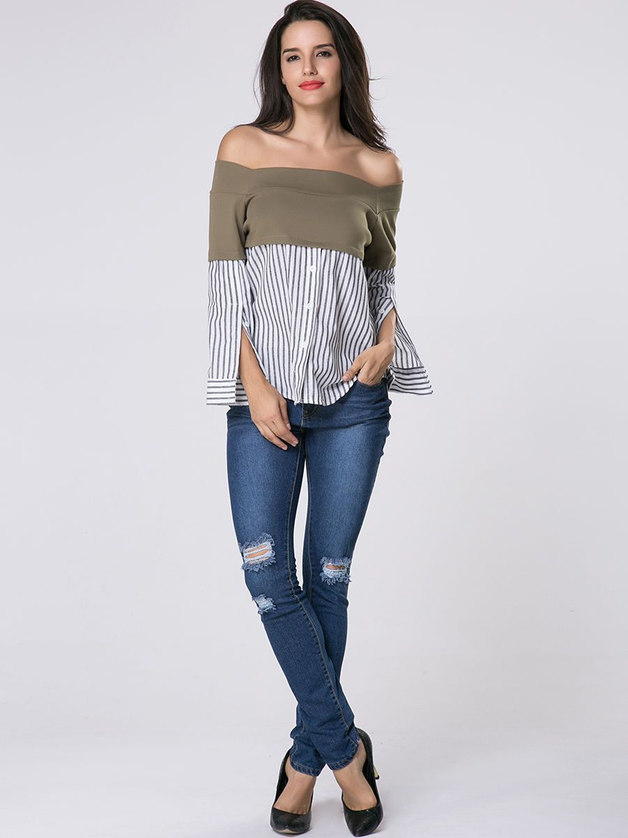 Off Shoulder Vertical Striped Patchwork Blouse Only $13.95 USD More info...