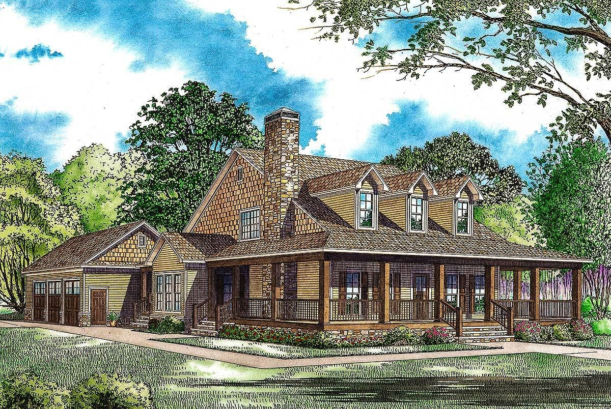 Plan 60586nd Country Home Plan With Wonderful Wraparound Porch Farmhouse Style House Plans Farmhouse Style House Country Style House Plans
