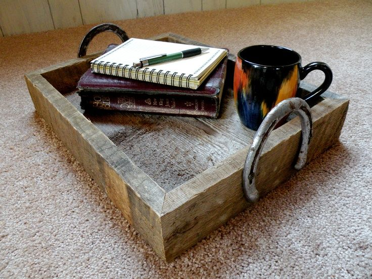 Diy old wood projects rustic barn wood tray with old for Old horseshoe projects