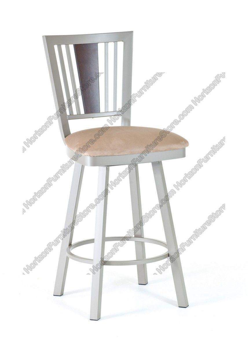 Amisco Madison Swivel Stool With Wood Backrest 41406 Stool Bar