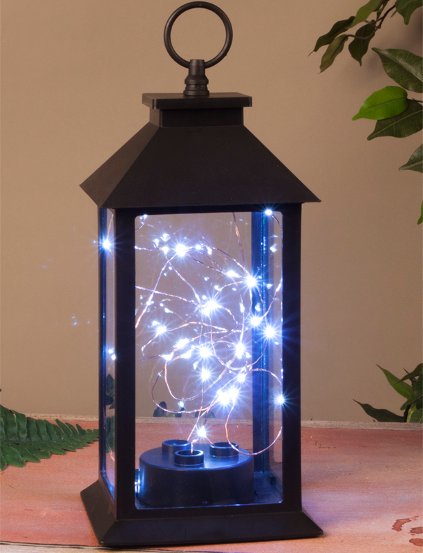 Black Plastic Lantern W Led Cool White String Lights 11