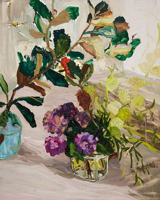 © Laura Jones ~ Banksia, hydrangea and balloon plant ~ 2016 Oil on linen at Olsen Irwin Gallery Sydney Australia. Flower painting