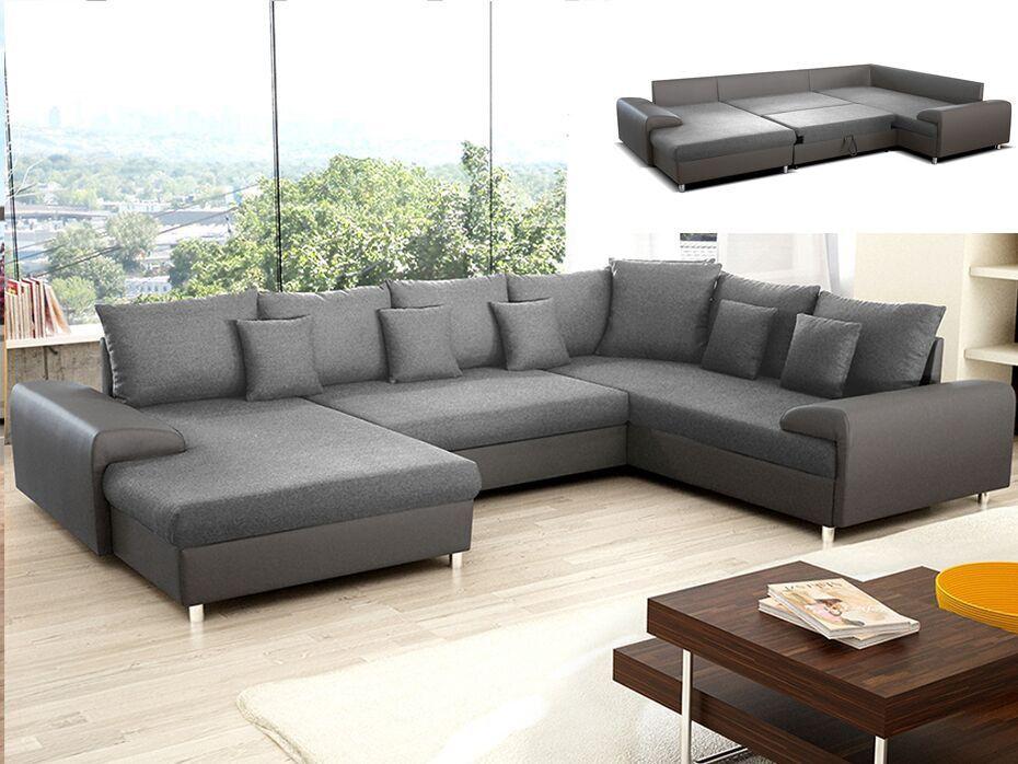 Canapé D'Angle Convertible En Tissu Et Simili Clement - Gris