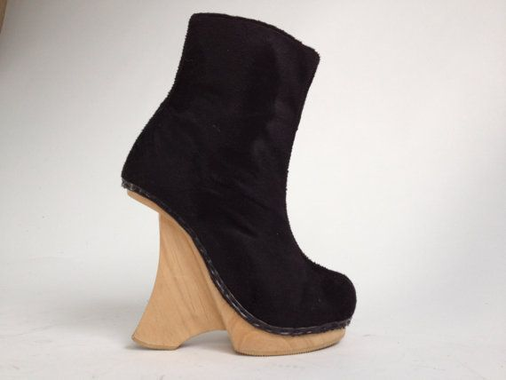 5bfcc1e7f264 SUPER SALE    N.Y.L.A.    90 s Wood Platform Wedge Fuzzy Avant Garde Funky  Ankle Boots    6 - 6.5