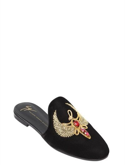 Giuseppe Zanotti Embellished Velvet Mules shopping online view cheap online cheap sale best prices cheap exclusive LmCUlp