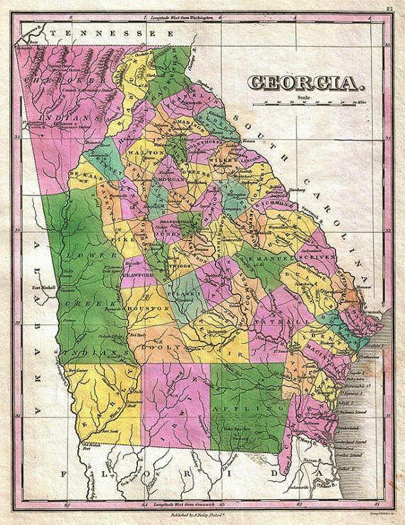 Map Of Old Georgia.Georgia Map 1827 Scanned Version Of An Old Original Map Of The