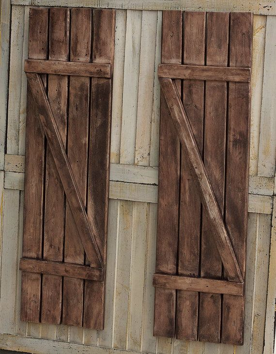 Rustic shutters farmhouse shutters country by - Exterior wooden shutters for windows ...