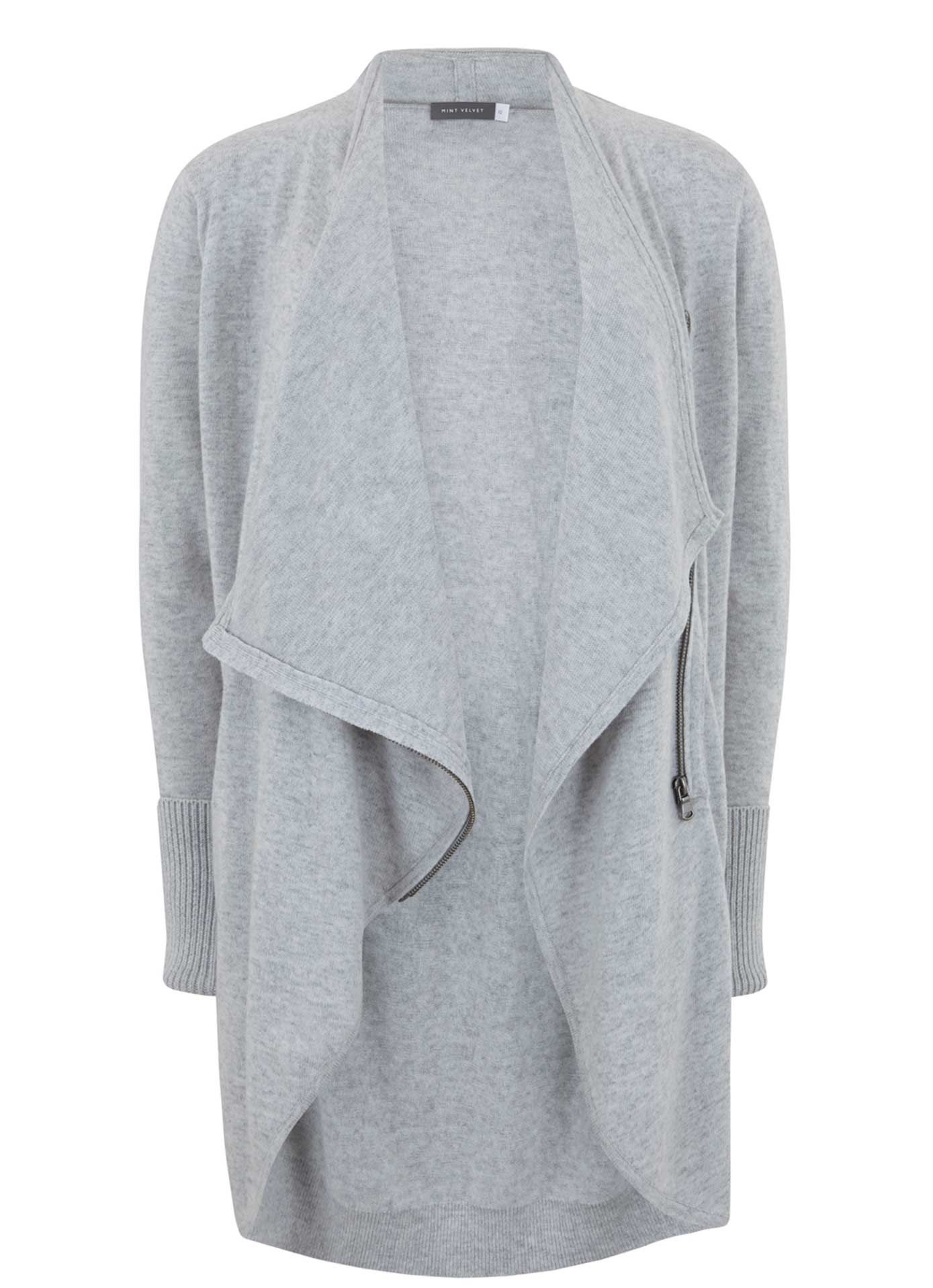Silver Grey Drape Front Longline Cardigan | Fashion and Style ...