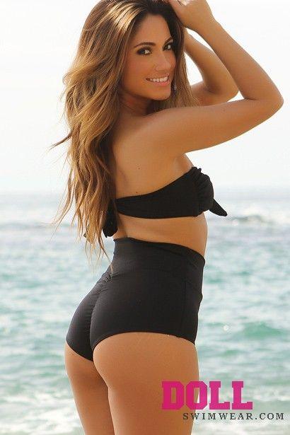 3f3a3a840f74 Solid Black Modern Fit Bandeau Top Classic High Waisted Shorts Bikini - Doll  Swimwear