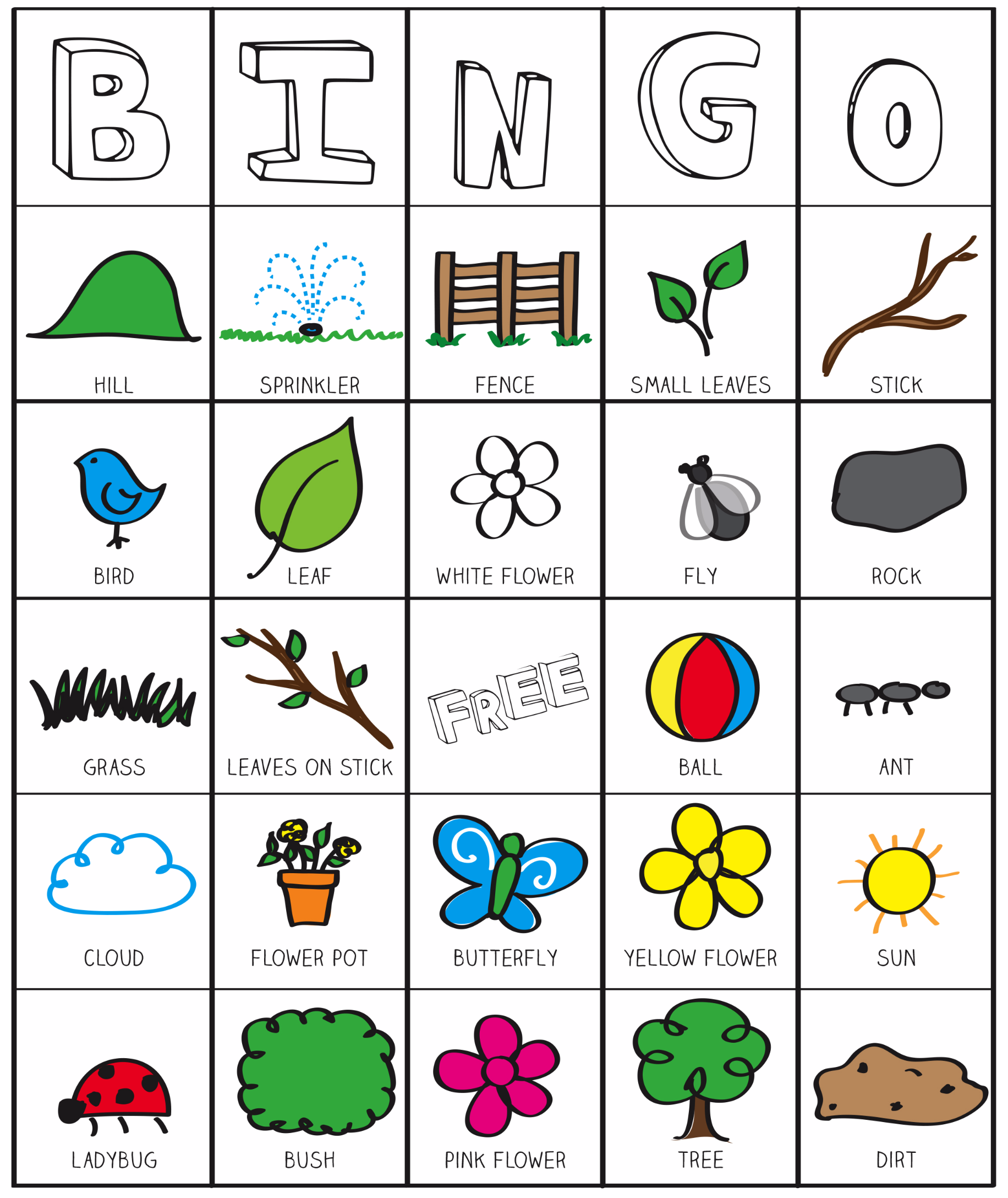 outside bingo printable inspired by the garden classroom three to five playful preschool. Black Bedroom Furniture Sets. Home Design Ideas
