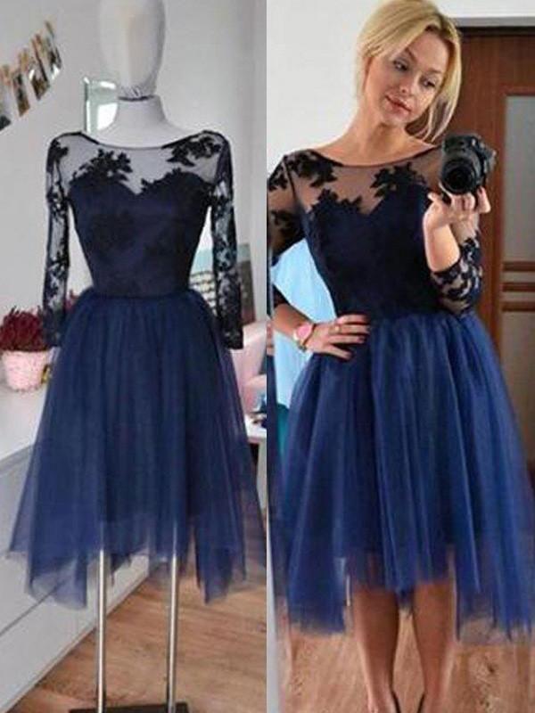 e746e948a3d0 2017 Homecoming Dress Dark Navy 3/4-Length Short Prom Dress Party Dress  JKS040