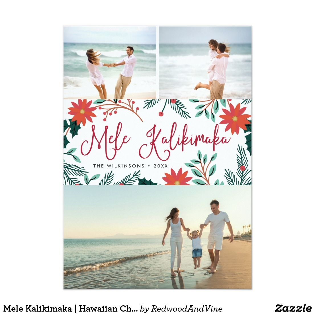 Mele Kalikimaka | Hawaiian Christmas Photo Collage Card | Holiday ...