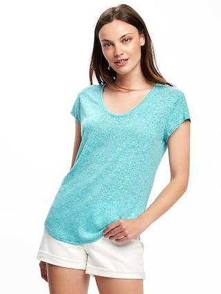 69ff6ec0471c4 Relaxed Linen-Blend Curved-Hem Tee for Women