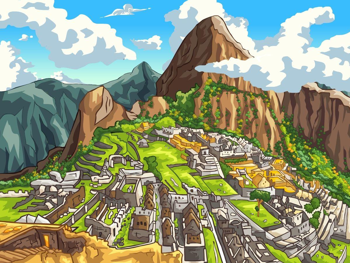 A Drawing Of Machu Picchu Machu Picchu Art World Machu Pichu