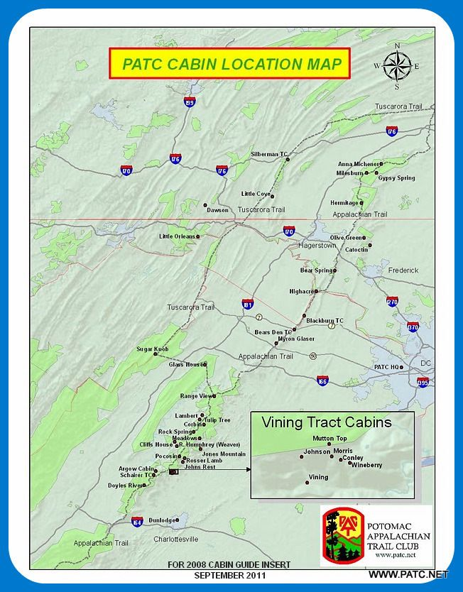 Potomac Appalachian Trail Club Cabin Map Fun Virginia Is For