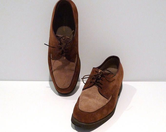 cd22aa73455 Hush Puppies Shoes 1990s Vintage Brown Two Tone Oxfords Womens Size 8.5M  Suede Leather Lace Up Rockabilly Swing Old Bark and Taupe Tan