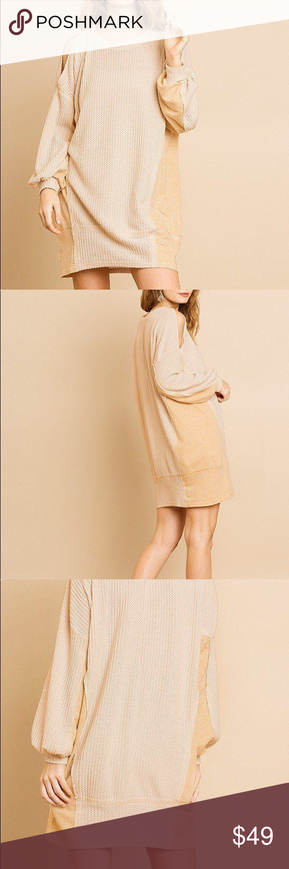 Long Sleeve Waffle Knit Dress In Oatmeal This Dress Is So Effortlessly Chic It Would Look Adorable With A Felt Hat Knit Dress Clothes Design Waffle Knit [ 1740 x 580 Pixel ]