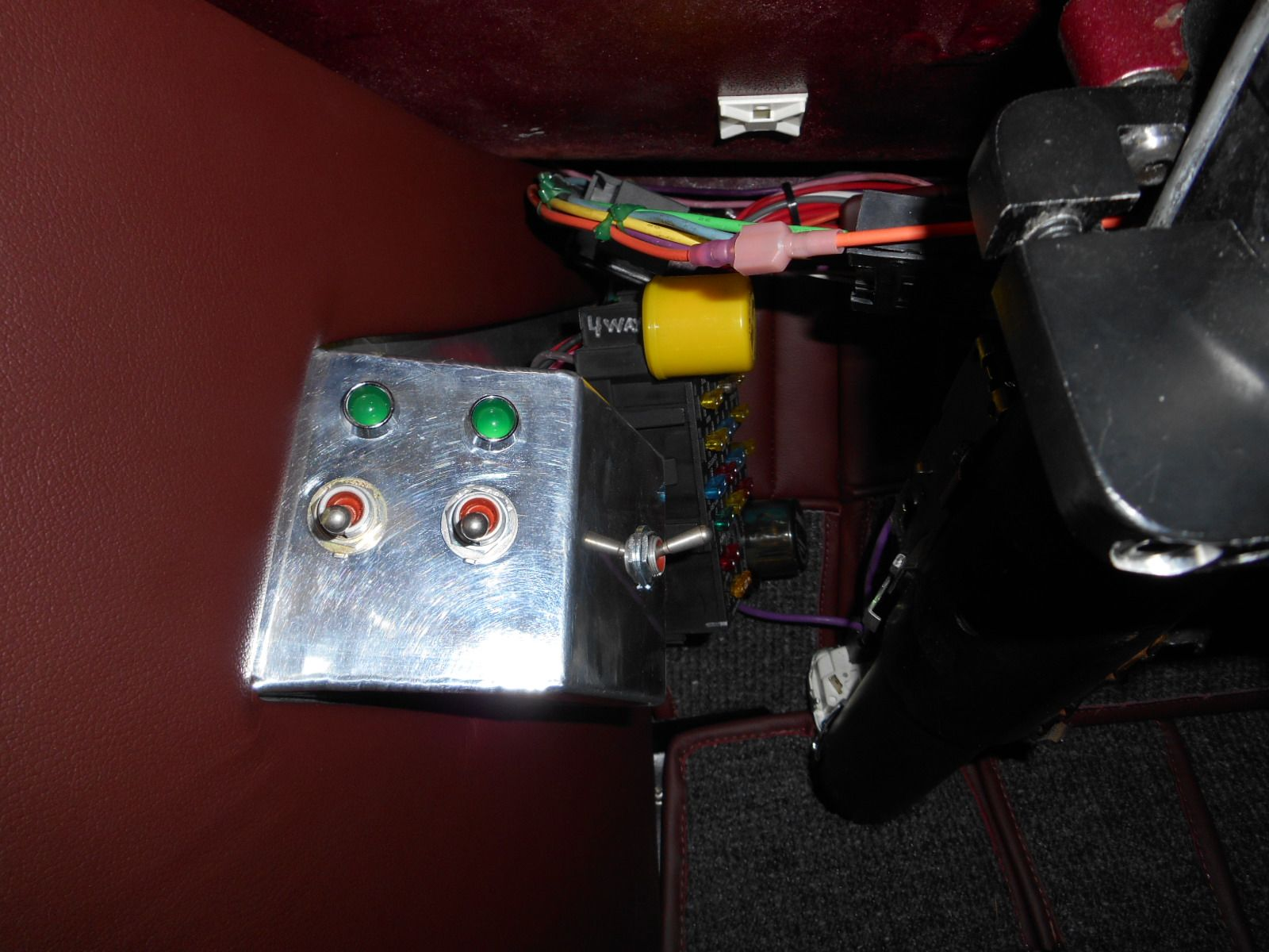 The Aluminum Box On Driver Side Kick Panel Houses Light Fuse Switch Dimmer Electric Fan And Turn Signal Indicators Is
