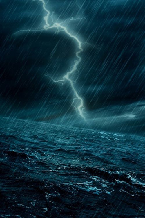 0010 Stormy Sea with bolts of Lightning Storm Pinterest
