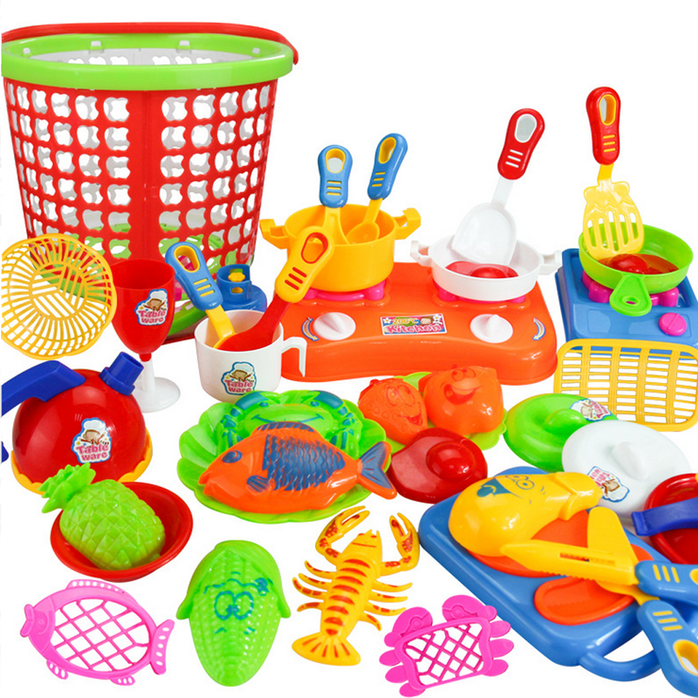35pcs Plastic Kids Children Kitchen Utensils Food Cooking Pretend ...