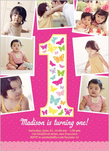 Butterfly one 5x7 photo card by shutterfly baby girls 1st butterfly one 5x7 photo card girl 1st birthday invitations shutterfly bookmarktalkfo Gallery