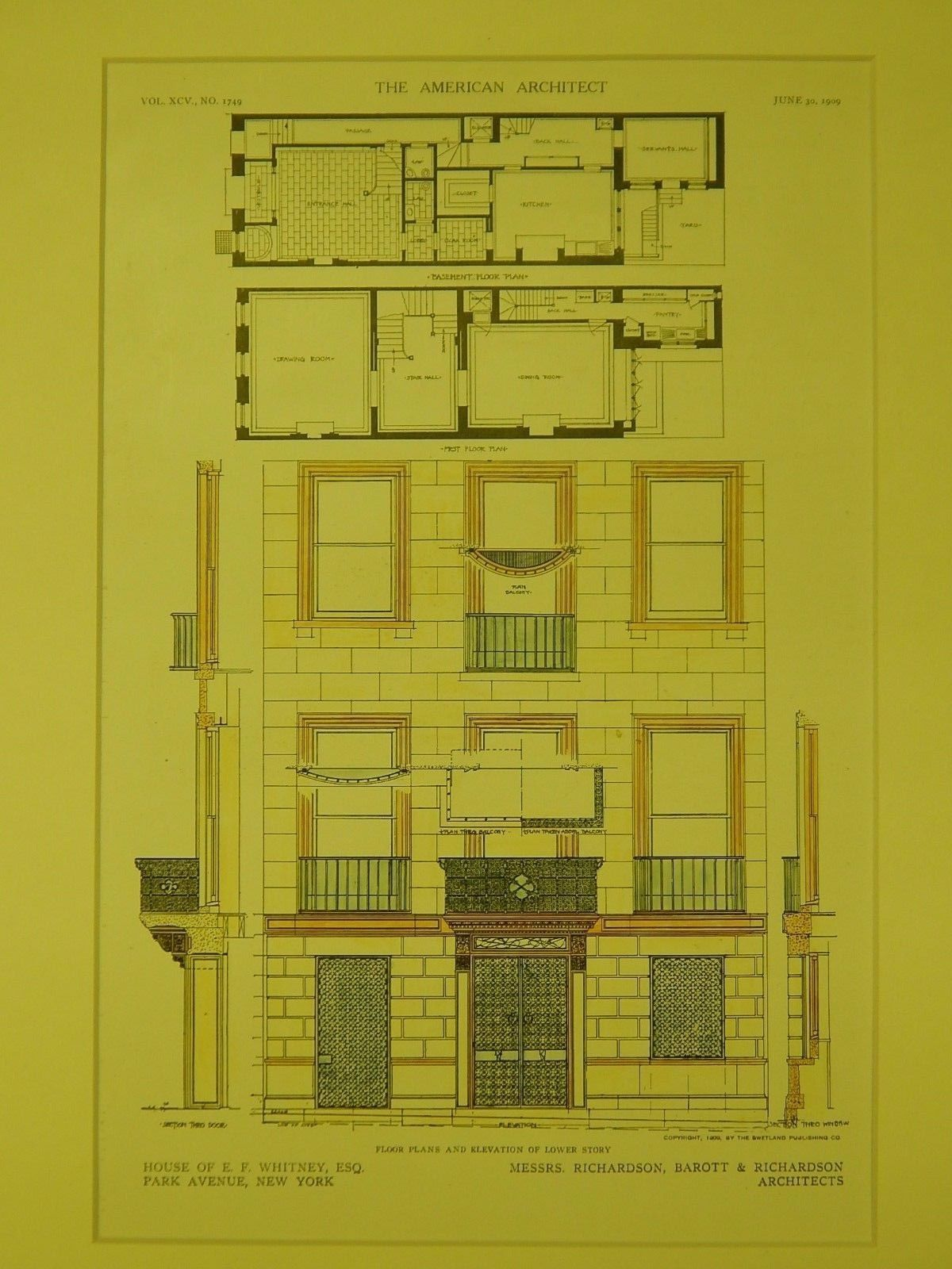 Floor Plans Elevation E F Whitney House New York Ny 1909 Original Plan Richardson Barott Richardson Whitney House Floor Plans How To Plan