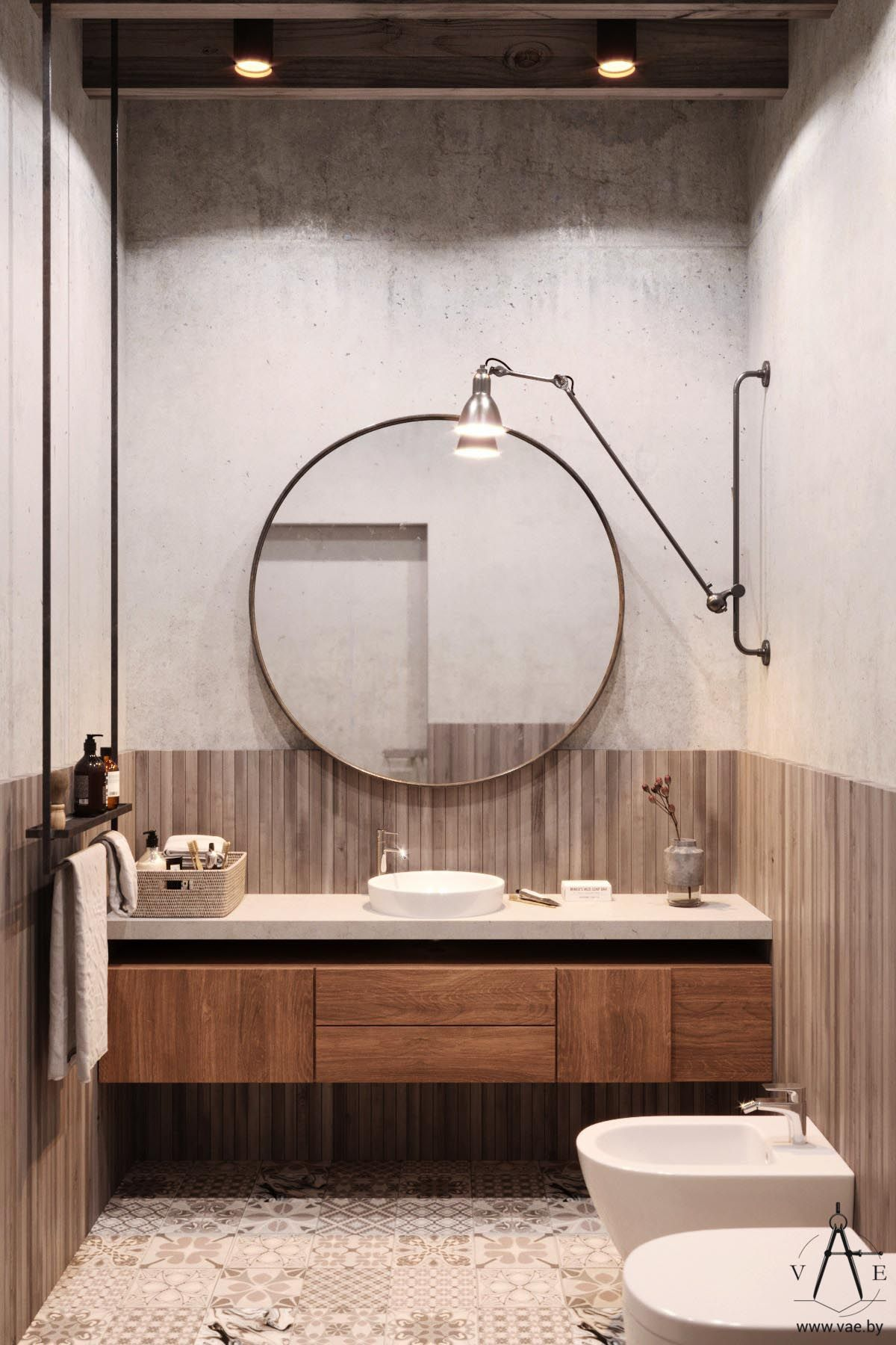 Industrial Style Bathroom Mirror Warm Industrial Style House With Layout 室 衛浴