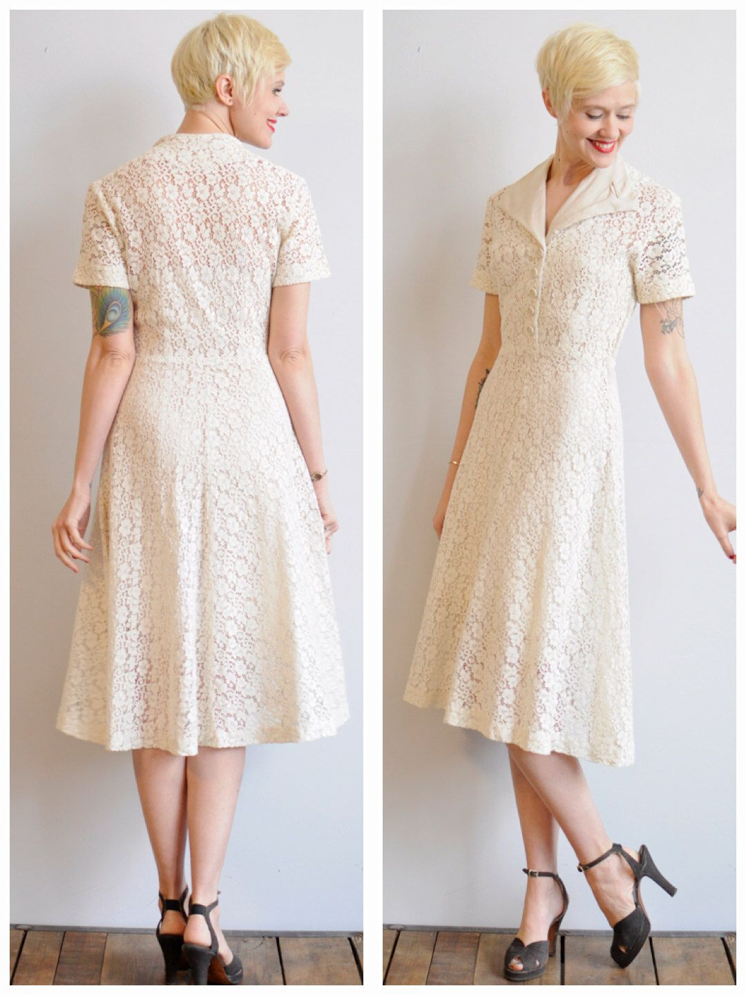 White lace dress vintage  s Dress  White Lilly Dress  vintage s cotton lace dress by