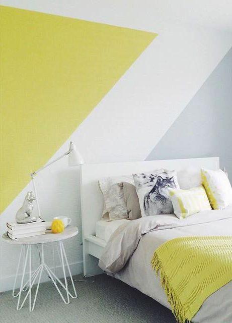 Bandes graphiques au mur blanc gris jaune | mur graphique en ...