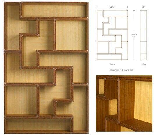 Tetris shelf geometric shelf designs pinterest for Tetris bookshelf