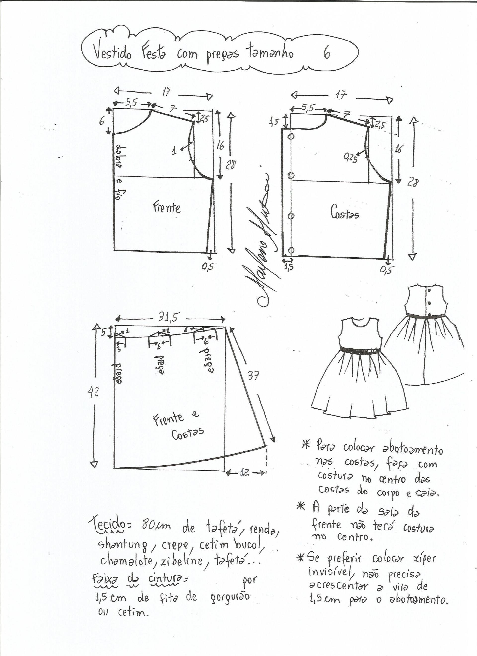 Patrón vestido de fiesta para niña con la falda plisada | CORTE ...
