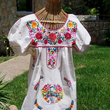 Casa Fiesta Designs Floral Mexican Blouse - Embroidered - Authentic -  Handmade - Cotton - Black With Red Flowers