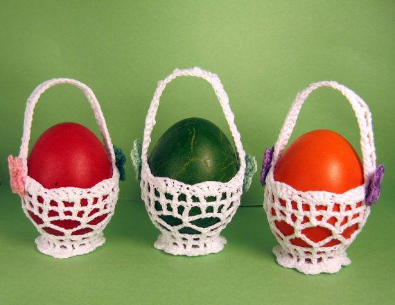 Uncinetto pasqua cesti casa decorazione set di 3 for Oggetti in regalo gratis