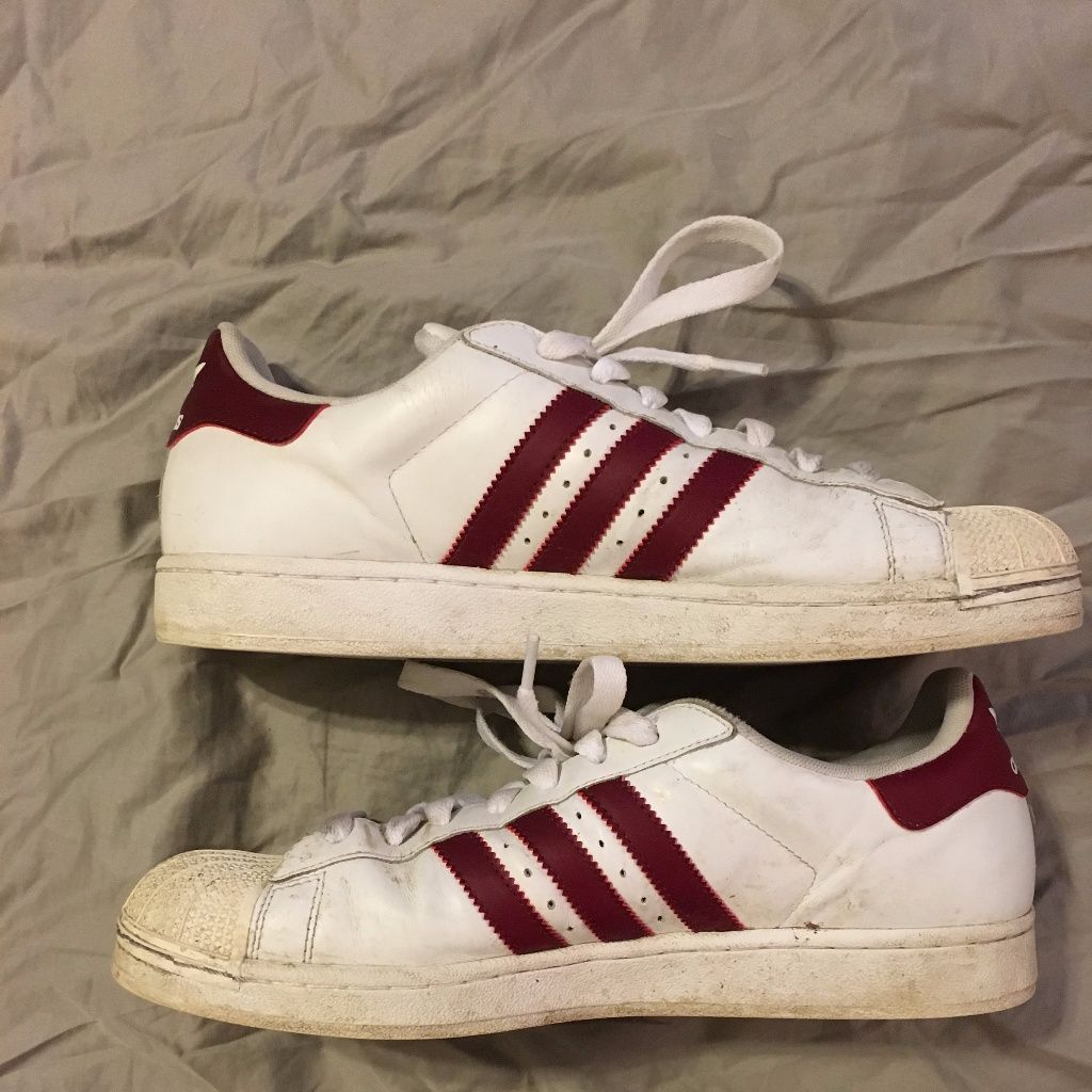 adidas white shoes with red stripe