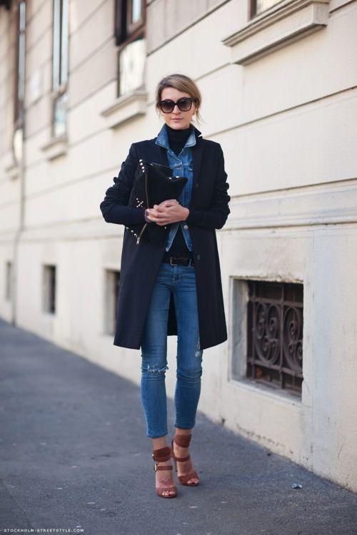Women's Navy Coat, Blue Denim Jacket, Black Turtleneck, Blue ...