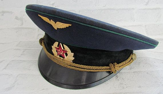 Vintage Soviet Russian Parade Air Forces Military Army Visor Cap Hat