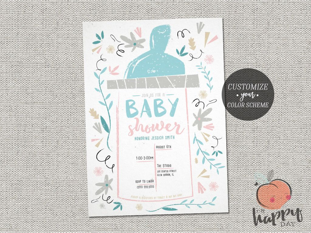 Baby Shower Bottle Invitation Book Card And Diaper Raffle Ticket ...