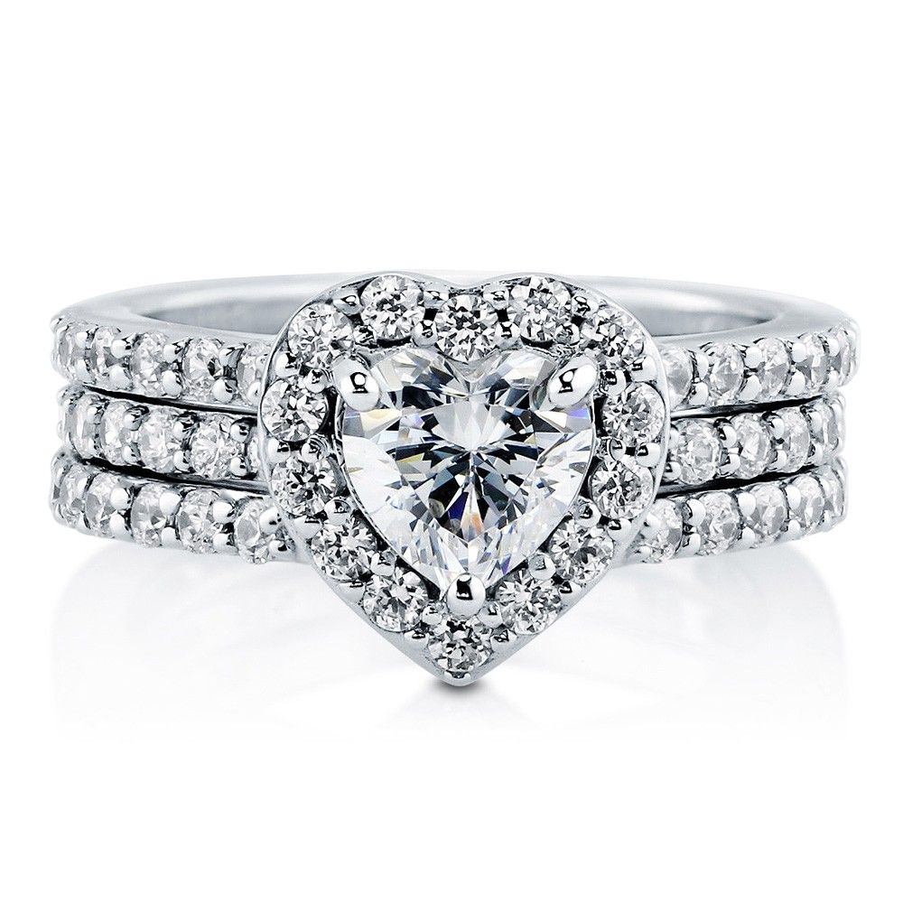 Sterling Silver Cubic Zirconia CZ Halo Heart Ring Set 2.21 Ct.tw