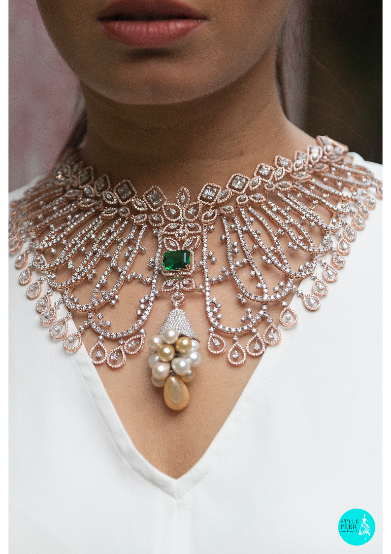 Have A Look At These Diamond Necklace From Uma Ornaments They Won The Best Diamond Jewellery Over Pearl Necklace Designs Choker Designs Gold Necklace Designs