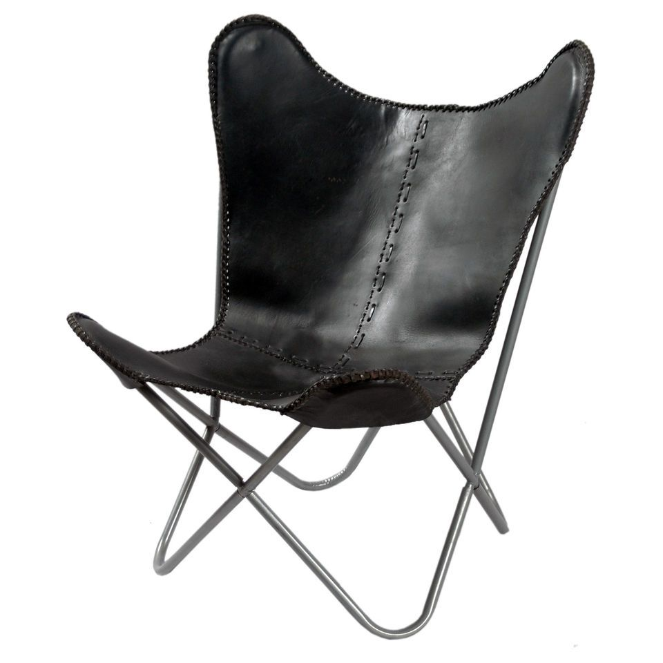 Black Leather Butterfly Chair Dining Room Furniture Modern Style Seat Arm Back