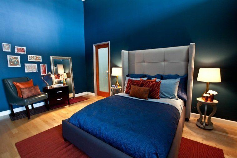 Camera Da Letto Blu : Pareti camera da letto blu pavimento legno interior design