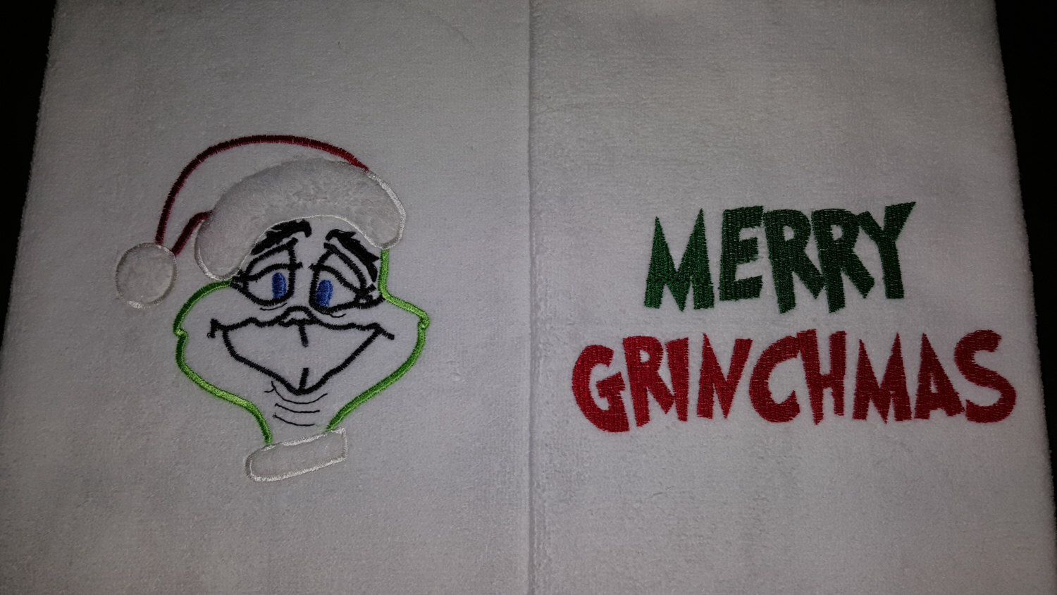 A personal favorite from my Etsy shop https://www.etsy.com/listing/259344913/towel-embroiedered-merry-grinchmas