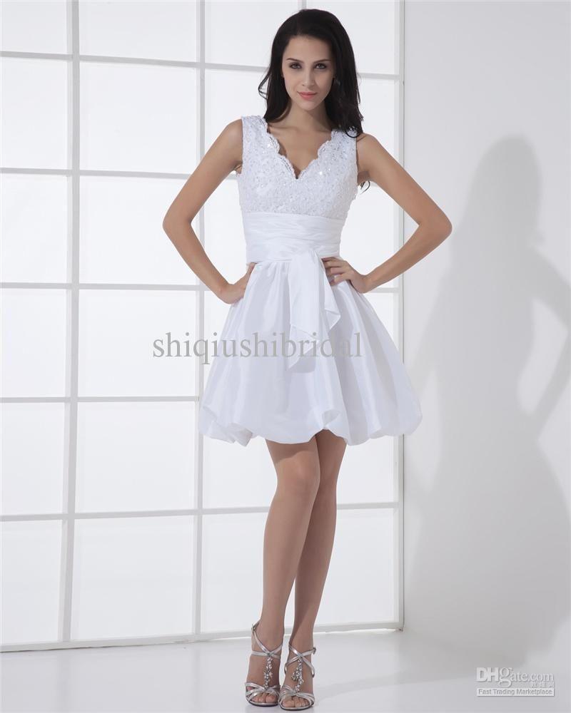 White cocktail dress for wedding  Wholesale ALine Wedding Dresses  Buy Actual Image Short Wedding