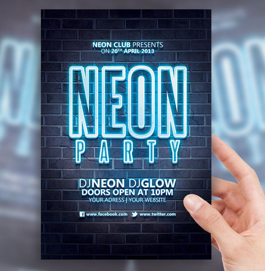 glow party flyer template Buscar con Google – Party Flyer Template