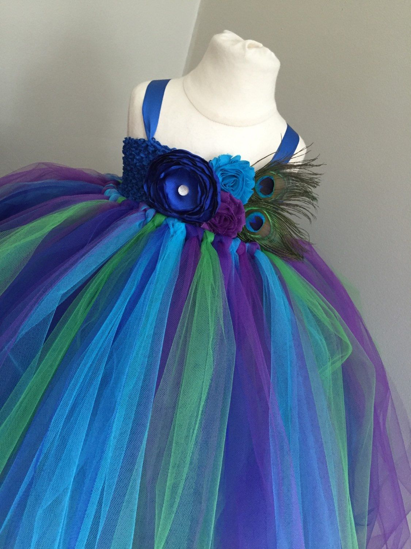Blue Peacock Flower Girl Dresses