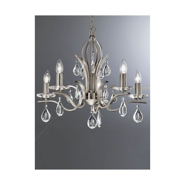 The willow 5 light chandelier by franklite lighting is available from luxury lighting the franklite willow ceiling light is in a satin nickel finish