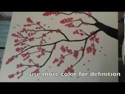 Diy Painting Japanese Cherry Blossom Tree Youtube Cherry Blossom Watercolor Cherry Blossom Tree Japanese Blossom